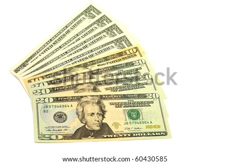 Banknotes in twenty dollars isolated on a white background