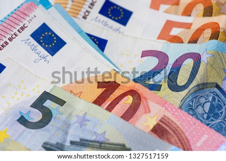 Banknotes of 5, 10, 20 and 50 euros. Close-up view #1327517159