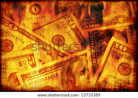Banknotes of United States of America - dollars are burning in flame of recession