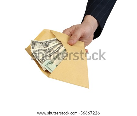Banknotes offered in Envelope [with Clipping Path and isolated on white background] Closeup of businessman's hand holding out an envelope full of money towards you.