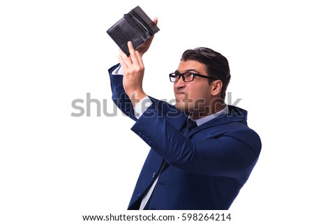 Bankrupt broke businessman with empty wallet on white background Stock photo ©