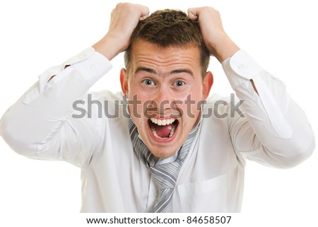 Bankrupt businessman on white background.