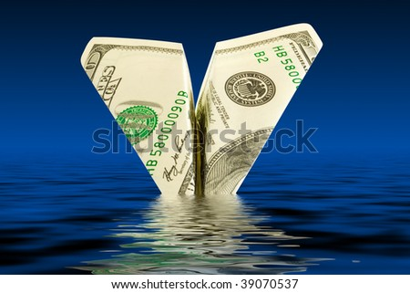 bankruptcy business. money plane crash in water