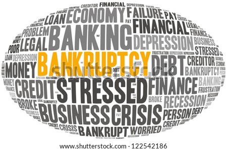 bankruptcy info-text graphics and arrangement concept (word cloud) in white background