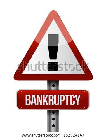 bankruptcy road sign illustration design over a white background