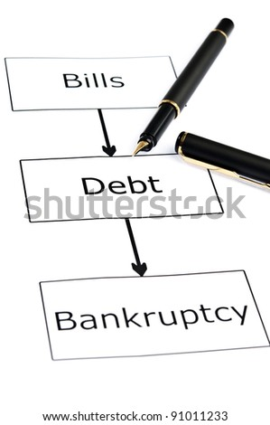 Bankruptcy scheme and pen on white