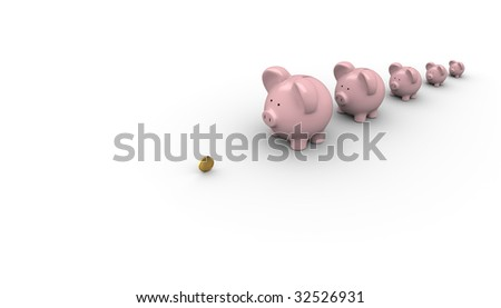 Banks waiting in a line for money