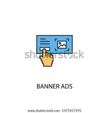 Banner Ads concept 2 colored line icon. Simple yellow and blue element illustration. Banner Ads concept outline symbol design from Social Media Marketing set.