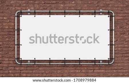 banner advertising vinyl billboard white tarpaulin layout template blank 3D illustration Сток-фото ©