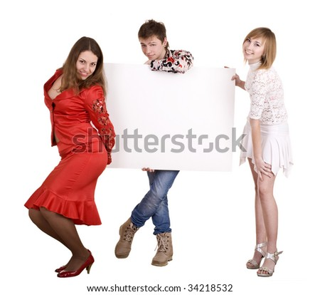 Banner and three young adult. Isolated.