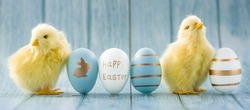 Banner. Blue, yellow, white Easter eggs and yellow chicks on a blue wooden background. The minimal concept of Easter. An Easter card with a copy of the place for the text.