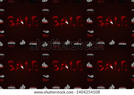 Banner clearance sale. Picture in brown, black and red colors. Raster. Seamless.