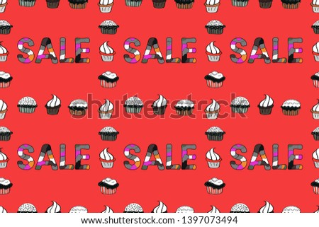 Banner clearance sale. Seamless pattern. Raster illustration. Illustration in red, gray and white colors.