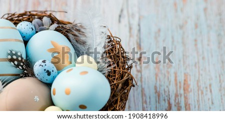 Banner. Easter eggs, feathers in a nest on a blue wooden background. The minimal concept. Top view. Card with a copy of the place for the text.