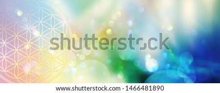 Banner flower of life in a sparkling field of rainbow colored light