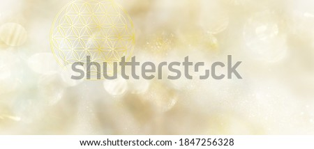 Banner flower of life in bright white and golden light with plenty of copy space for individual text and design
