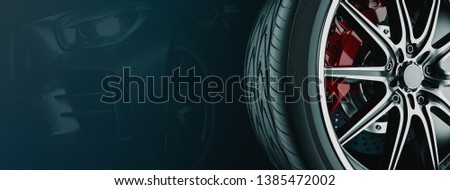 Banner For Car Wheel Business. 3d render and illustration. Wheel black background.