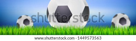 Banner for football or soccer games. Ready of ad for tournaments, championships. Backdrop with playing ball on green grass. Template for posters and invitations. 3D illustration.
