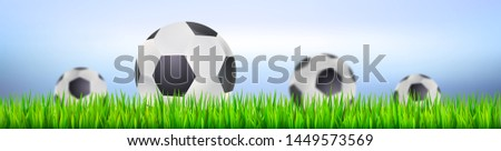 Banner for football or soccer tournaments or championships. Backdrop with playing ball on green grass. Template for posters and invitations. 3D illustration for football or soccer game .