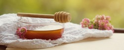 Banner Golden transparent honey in a glass bowl with a wooden spoon for honey on a wooden table on a sunny summer day outdoors.