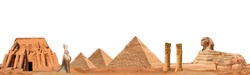 Banner including some landmarks from ancient Egypt isolated on white background