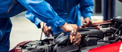 banner of automobile mechanic man and team checking car damage broken part condition, diagnostic and repairing vehicle at garage automotive, motor technician maintenance after service concept