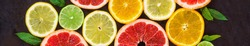banner of citrus food pattern on white background - assorted citrus fruits with mint leaves on black background.