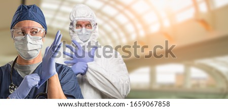 Banner of Doctors or Nurses Wearing Protective Face Mask and Surgical Gloves In Hospital.