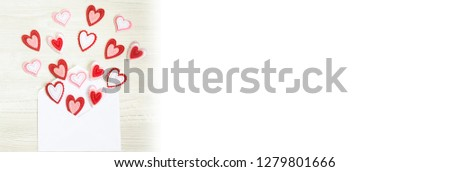 Banner of Love Letter Heart Floating Mail Correspondence Relationship. #1279801666