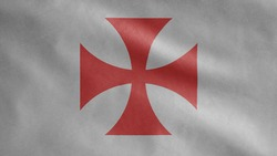Banner of the knights templars, the Catholic military order medieval. Close up flag of poor fellow soldiers of christ and temple of solomon. Cloth fabric texture ensign background