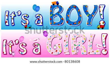 Banner or card announcing the sex of a baby in blue tones with toy trucks for boy and in pink with pretty birds for girl.