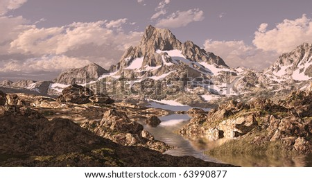 Banner Peak in Sierra Nevada mountain high country with lake.