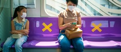 Banner photo of Asian female woman sitting in subway a social distancing for protect coronavirus or covid-19 virus a new normal trend. Social distancing or new normal concepts