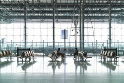 Banner photo of empty check-in desk and airport terminal due to pandemic of coronavirus and airlines suspended flights, circuit breaker implemented during Coronavirus or Covid-19 situation.