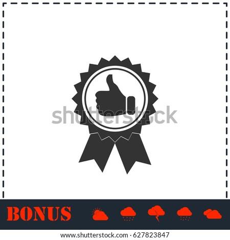 Banner ribbon Thumb up icon flat. Simple illustration symbol and bonus pictogram