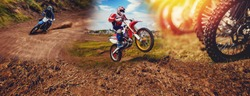 Banner rider mountain dirtbike enduro participates in motocross, jumps on springboard against background dirt. Concept extreme action sport racing.