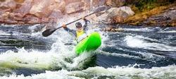 Banner whitewater kayaking, extreme sport rafting. Guy in kayak sails mountain river.