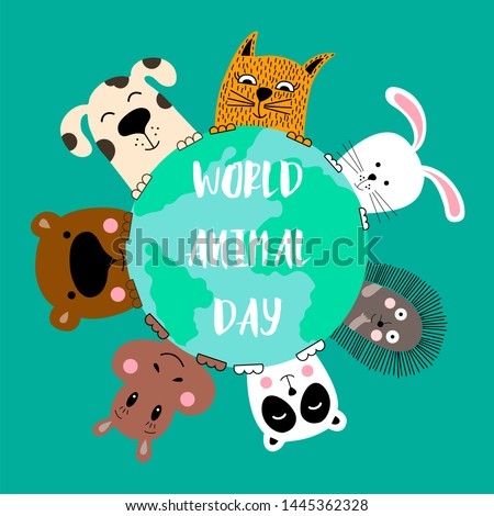 Banner with cat, dog, panda, bear, hippo, rabbit and hedgehog. World animal day.
