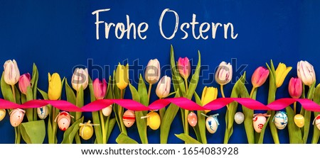 Banner With Colorful Tulip, Frohe Ostern Means Happy Easter, Easter Egg Stock foto ©