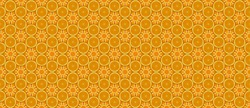 banner with hexagonal seamless pattern of abstract orange slices for craft paper
