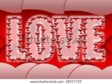 Banner with love word stroked by little glossy hearts