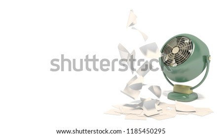 Banner with old green fan blowing on blank white sheets of paper. Isolated objects on a white background with space for text. 3D rendering