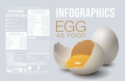 Banner with realistic egg and vitamins and minerals infographics. Vector illustration