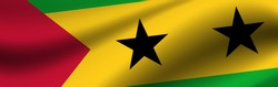 Banner with the flag of Sao Tome and Principe. Fabric texture of the flag of Sao Tome and Principe.