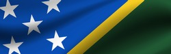 Banner with the flag of Solomon Islands. Fabric texture of the flag of Solomon Islands.