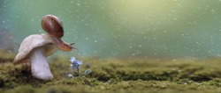Banner with the magic snail on the mushroom and flower with rain drops. Macro wildlife in the forest. Beautiful green background with falling snow. Copy space for text.