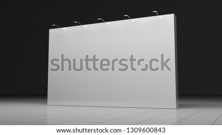 Banner 3x5 meters. 3d render. Template for your design. Exhibition.