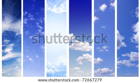 Banners collection - white clouds in the blue sky