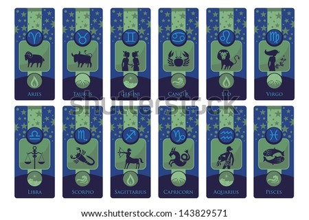 Banners set with the European zodiac signs and symbols