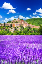 Banon, Provence - Hilltop village with lavender fields in France, travel destination Alpes-de-Haute-Provence.